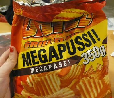 Megapussi chips with sexually awkward food name